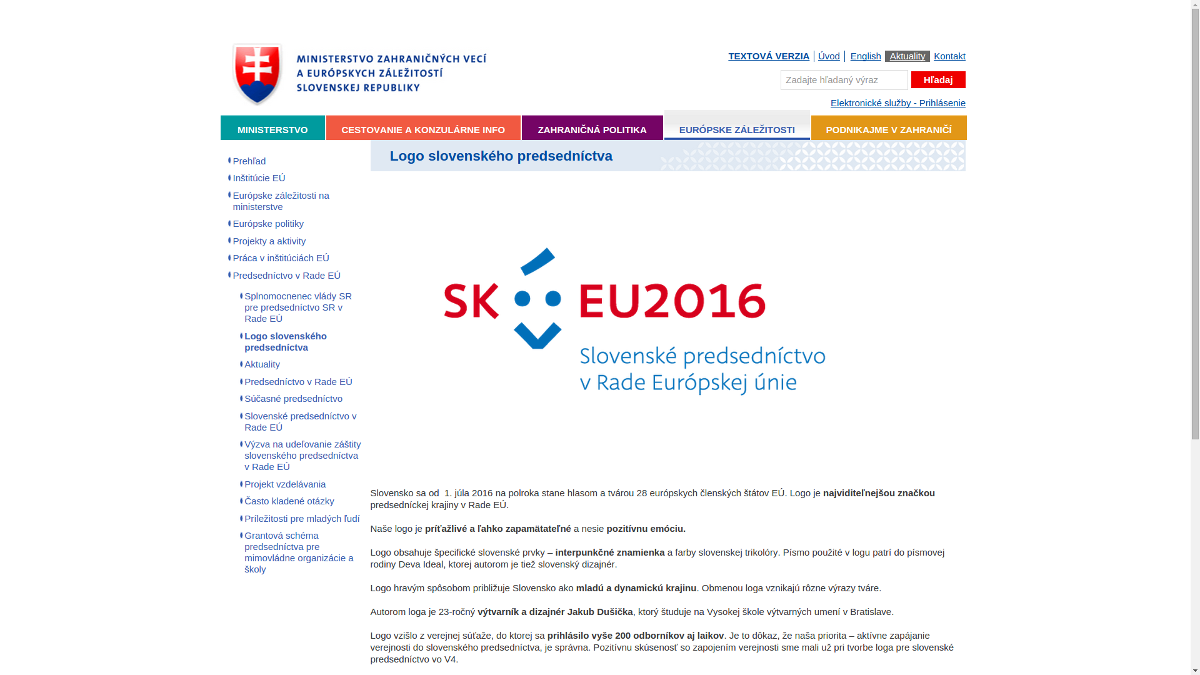 Logo of Slovak 2016 Presidency of European Council finally online