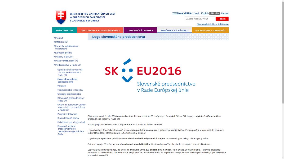 Il logo della slovacca 2016 Presidenza del Consiglio europeo finalmente online