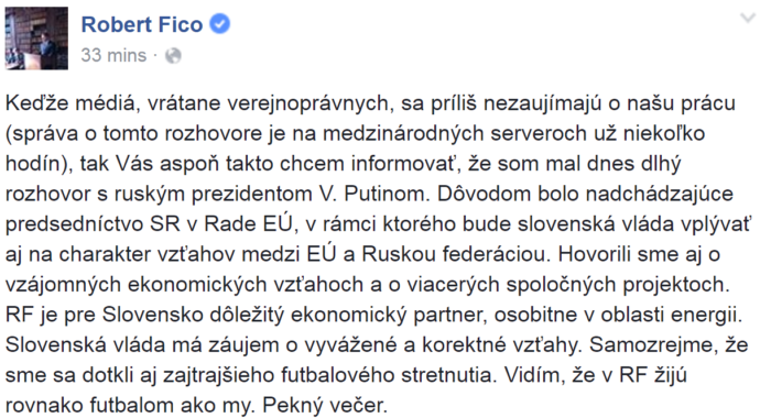 ficos discussion with putin about Slovak EU Presidency